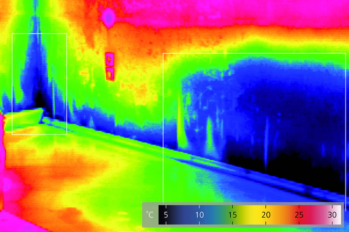 Thermografie feuchte Wand